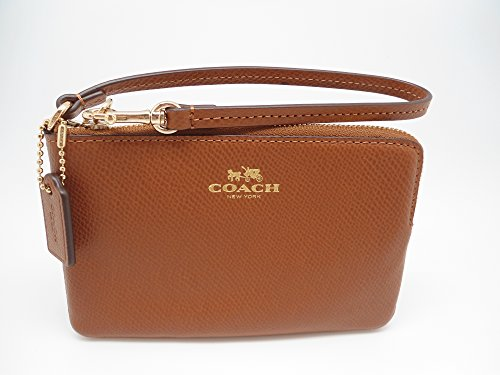 Coach Crossgrain Leather Small Wristlet Saddle