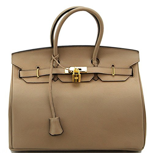 Genuine Leather Designer Inspired Fashion Satchel Handbag With Padlock (Grey+Gold Hardware)