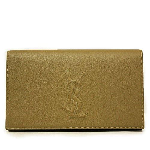 Yves Saint Laurent 'YSL' Belle du Jour Dark Beige Leather Clutch Handbag 361120