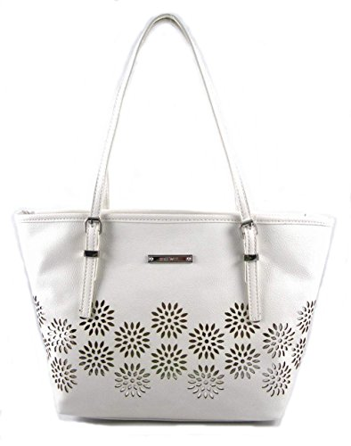 Nine West It Girl Laser Cut Out Daisy Small Tote, White