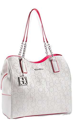 CALVIN KLEIN WHITE LABEL SADIE CENTER ZIP HOBO (WHITE WITH PAPAYA)