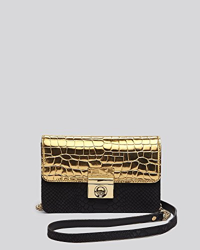 MILLY Sienna Mini Crossbody Shoulder Bag Black / Gold Snake-Embossed Leather