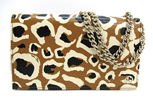 Gucci Leopard Print Leather Chain Cross Body Clutch Bag 354697