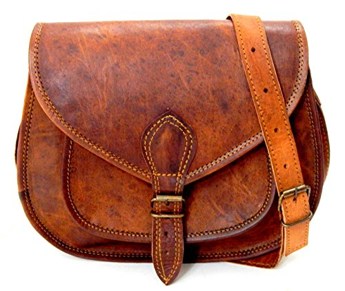 Women Vintage Style Genuine Brown Leather Cross Body Shoulder Bag Handmade Purse