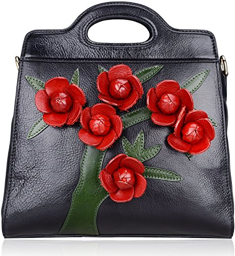 Pijushi Designer Floral Genuine Leather Tote Satchel Cross Body Handbags 8850