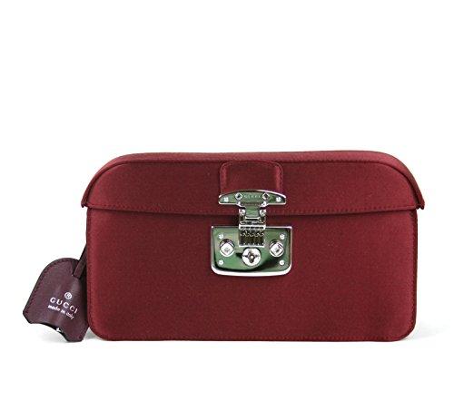 Gucci Women's Burgundy Satin Lady Lock Evening Clutch Bag 331825 6160