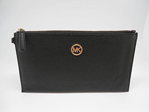 Michael Kors Fulton Large Zip Clutch Wristlet Wallet Black Leather