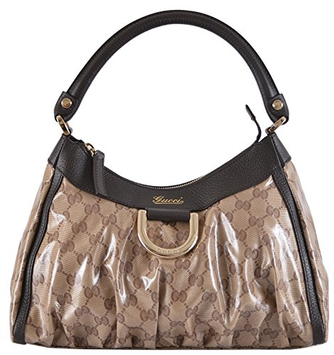 Gucci Women's Small Crystal Line Coated Canvas D Ring Abbey Hobo Purse
