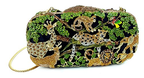 """Jungle Fever"" Wild Animal Clutch/Evening Purse, Inlaid Jewel Studded, 10″ chain, Hard Case."