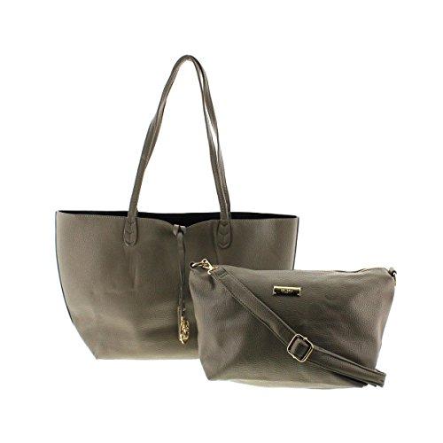 BCBG Paris Womens Faux Leather Reversible Tote Handbag