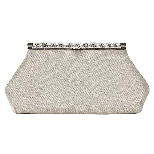 Carlo Fellini – Alina Evening Bag (N 6646) Women's designer wedding party prom classic evening sparkle fabric snap metal closure faux diamonds rhinestones crystals chain black silver handbag purse clutch bag