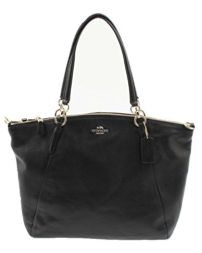 Coach Kelsey Pebbled Leather Satchel Black F36591 IMBLK