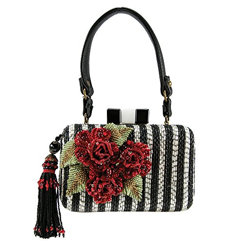 Mary Frances Jazz Club Handbag Black White Red Flower Bag