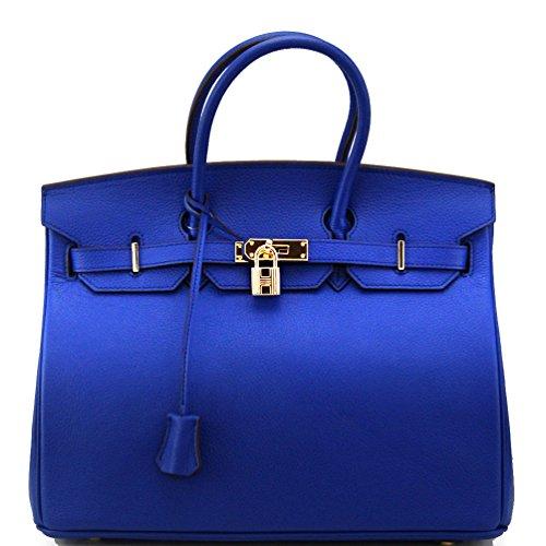 Genuine Leather Designer Inspired Fashion Satchel Handbag With Padlock (Electronic Blue+Gold Hardware)