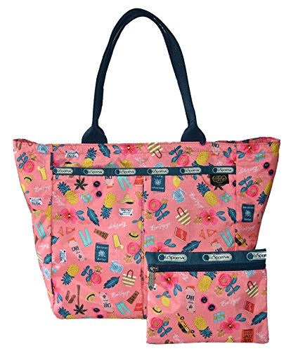 LeSportsac 2 Pcs. Set Every Girl Tote Handbag Bag Purse Tropical Voyage