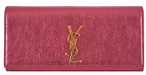 Yves Saint Laurent YSL Metallic Pink Leather Monogram Cassandre Clutch Bag