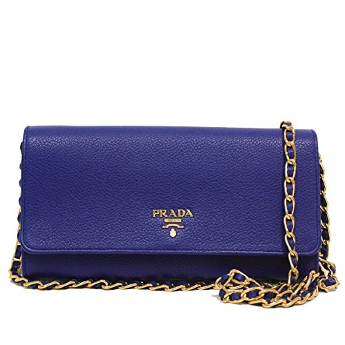 Prada Royal Blue Grain Leather Chain Cross-Body Wallet Clutch Handbag 1MT290