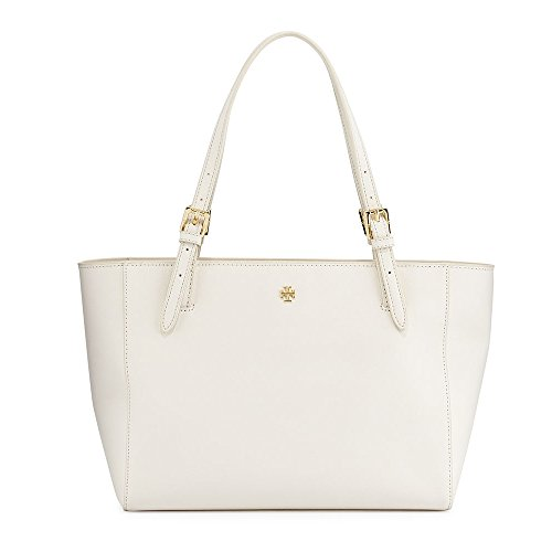 Tory Burch Small York White Saffiano Leather Tote Authentic New Bag Dustbag