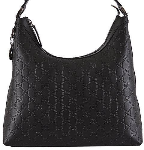 Gucci Women's Black GG Guccissima Leather GG Pendant Hobo Purse
