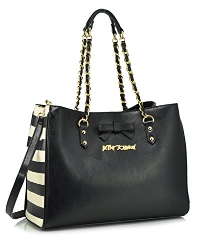 Betsey Johnson Stuck On You Satchel Shoulder Bag, Black
