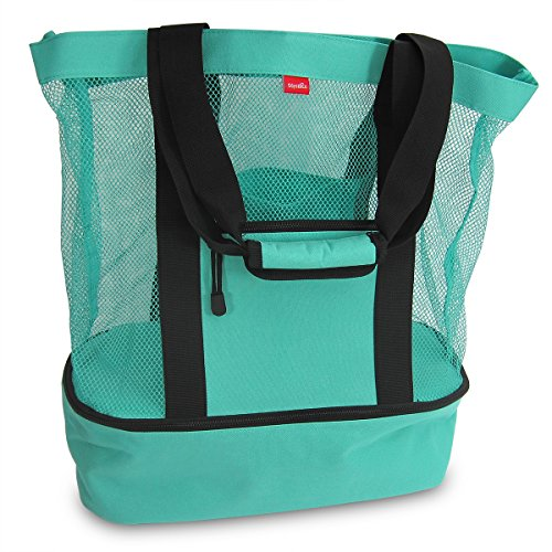 Aruba Mesh Beach Tote Bag with Insulated Picnic Cooler – Large