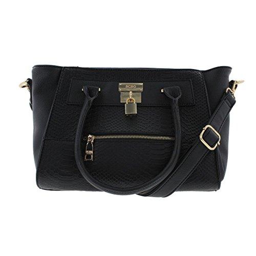 BCBG Paris Womens Faux Leather Embossed Satchel Handbag