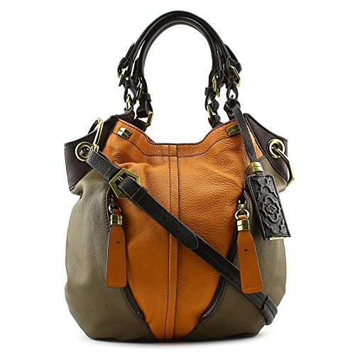 Oryany Victoria Multi Pumpkin Orange Brown Leather Victoria Colorblock Large Shoulder Bag