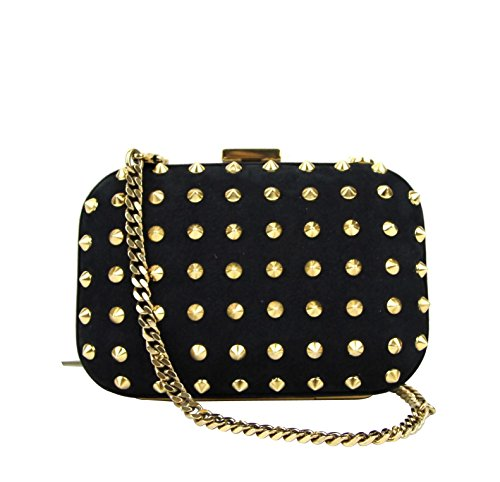 Gucci Women's Black Leather Studded Broadway Evening Clutch Bag 297416 1000