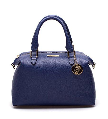 Versace Collection Leather Top-Handle Satchel Handbag LBF0377 LVFA L47OC Blue