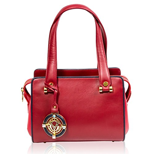 Valentino Orlandi Italian Designer Red/Blue Leather Purse Satchel Boxy Bag