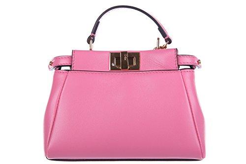 Fendi women's leather handbag shopping bag purse micro peekaboo pink