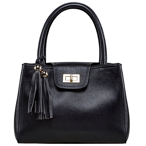 S-ZONE Ladies Cow Leather Mini Crossbody Handbag Satchel Tassel Bag