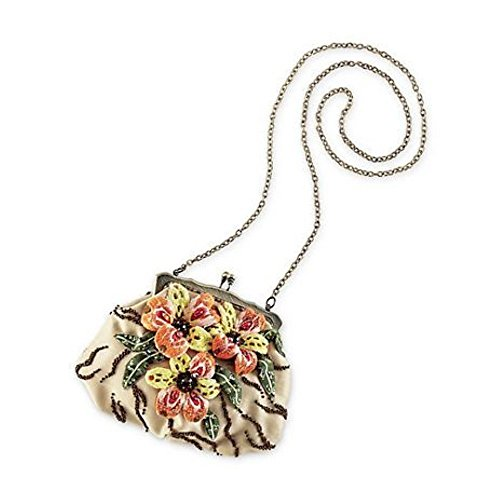 Mary Frances Tiger Lily Beaded Floral Embellished Detail Satin Purse Shoulder Bag