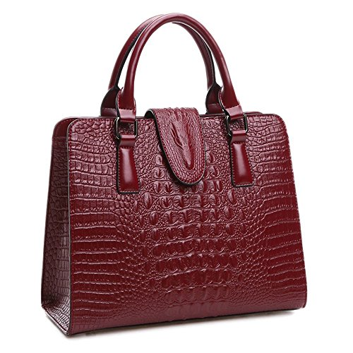 Zebella New Office Lady Luxury Crocodile Top Handle Tote Crossbody Shoulder Satchel Handbag Purse Wallet