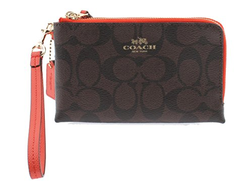 COACH Womens DOUBLE CORNER ZIP WRISTLET IN SIGNATURE COATED CANVAS F64131 IMF1U