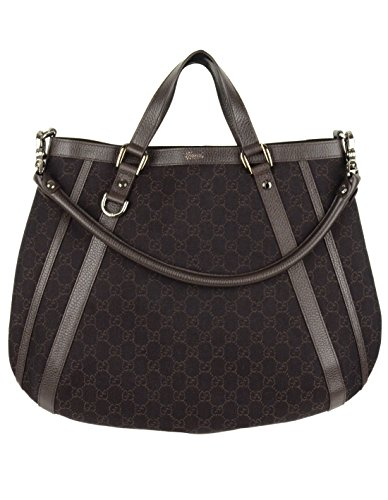 Gucci Bag GG Canvas Brown Convertible D Ring Abbey Tote Purse with Leather 268641