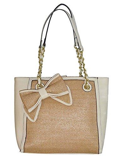 Jessica Simpson Straw Scarlett Tote Satchel Handbag Purse Bag