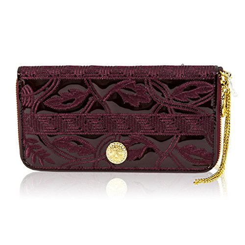 Valentino Orlandi Italian Designer Burgundy Embroidered Leather Wallet Clutch