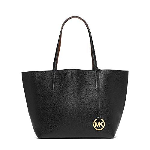 Michael Kors Black Luggage Izzy Large Reversible Leather Tote Handbag
