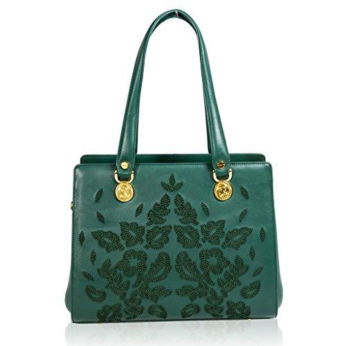 Valentino Orlandi Italian Designer Green Embroidered Leather Satchel Purse Bag