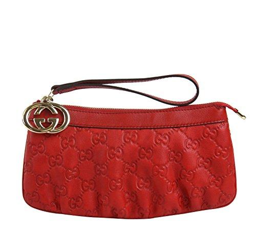 Gucci Red Guccissima Leather Wrist Wallet Interlocking G Clutch 212203 6523