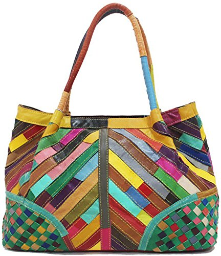 Hereby Kuer(TM) Women's Soft Sheepskin Multi-color Shoulder Bag Hobo Tote Top-Handle Handbag Purse