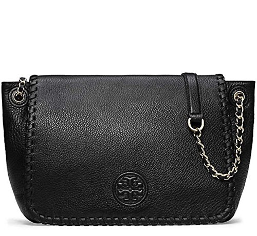 TORY BURCH MARION CHAIN WHIPSTITCH FLAP SHOULDER BAG LARGE BLACK