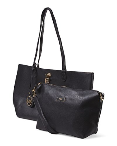 BCBG Paris Reversible Lock Tote Black/Beige