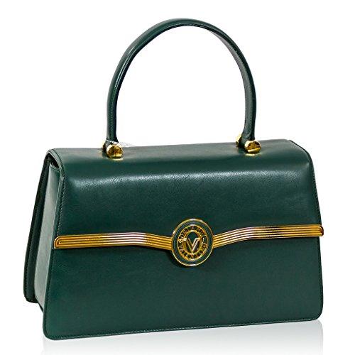 Valentino Orlandi Italian Designer Green Leather Purse Top Handle Purse Bag