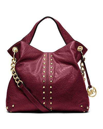 Michael Kors Uptown Astor Cinnabar Dark Red Bordeaux Leather Tote Bag