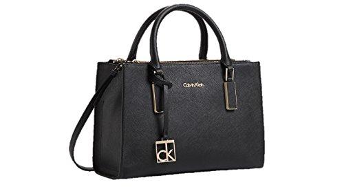 2829db0a54 Calvin Klein womens scarlett city double zip carry all shoulder satchel bag  handbag purse black color