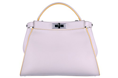 Fendi women's leather handbag shopping bag purse peekaboo regular grey