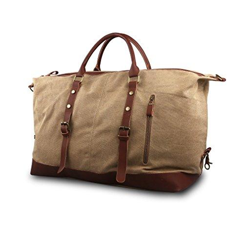Oflamn Unisex Oversized Canvas Leather Travel Tote Duffle Bag