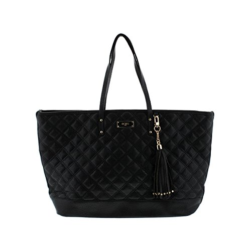 BCBG Paris Womens Quilted Faux Leather Tote Handbag